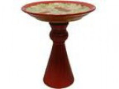 quot Red Ceramic Bird Bath