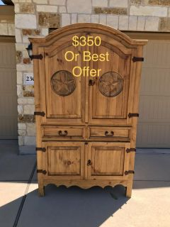 Rustic Mexican Pine Solid Wood Corner Armoire