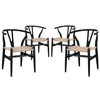 New Set of 4 Dining Chairs Black Finish Ships FedX