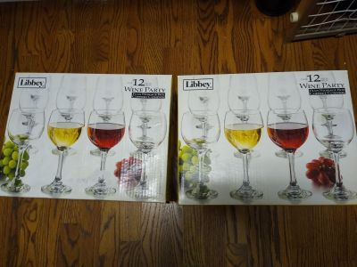 (2)New Boxes of wine glasses. There is only 23 one got broken in the box. Price is for all