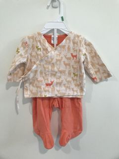 Baby Dumpling Kimono Style Top with Footed Pants Size 0-3 mo