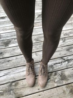 Fleece lined pattern leggings-never worn (only wearing to show you what they look like)