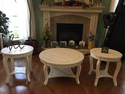 Country White Distressed Coffee Table And 2 Side Tables