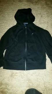 LIKE NEW!! WORN ONCE Nautica Black Hooded Zip Up Sweatshirt Size S (...Runs Small fits more like a size 7