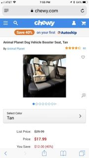 VEHICLE DOG BOOSTER SEAT (UP TO 12 LBS)