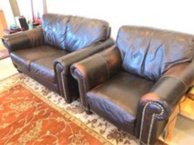 Leather Love seat and sofa chair