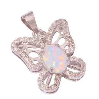New - Butterfly White Fire Opal Pendant (Includes a chain)