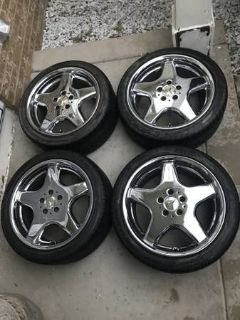 "4 Mercedes AMG 18"" Chrome Rims + Pirelli 245/40R18 Tires"