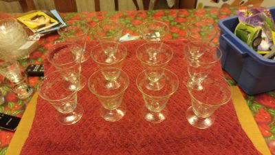 12 small etched liquor glasses