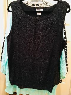 2x sparkly top