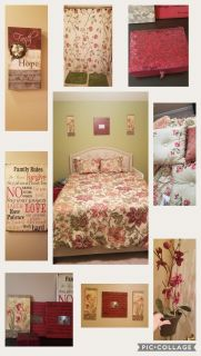 Beautiful Queen bedding set came from Dillards (over $400). Includes comforter, 2 shams, bed skirt, and matching franes/pics, and bathroom