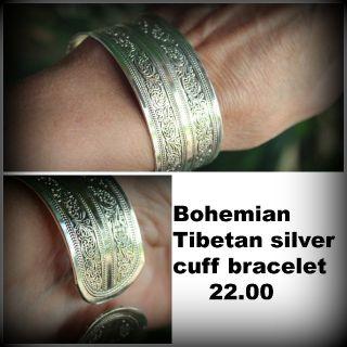 Bohemian tibetan silver cuff bracelet
