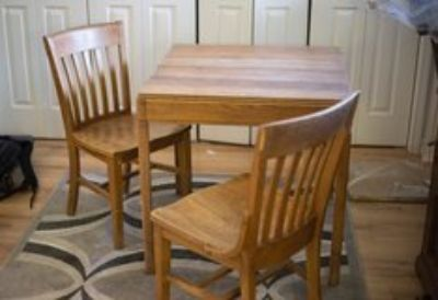 antique white oak table and chairs