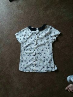 Button Up Collared Shirt with Birds.