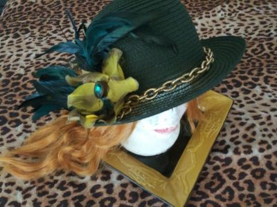 Green Feather Hat with gold chain