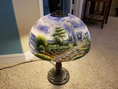 Thomas Kinkade Reverse Painted Glass Table Lamp
