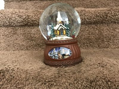 Punch Studio Snow Globe Musical with revolving sled and wagon