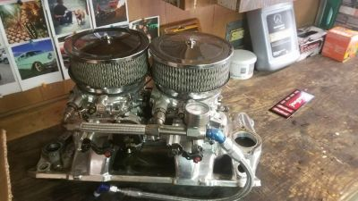 SBC Dual Quad Intake and Carb