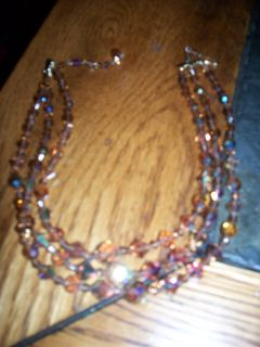 Vintage Crystal Topaz 3 strand necklace