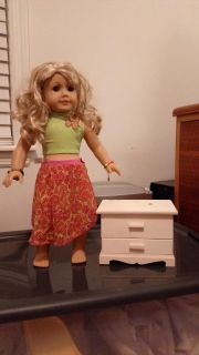 """American Girl & 18"""" doll wooden jewelry box (unfinished wood). Used as a dresser in an American Girl sized doll house. DOLL NOT INCLUDED"""