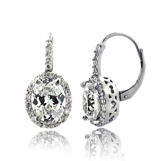***BRAND NEW***4ct Cubic Zirconia Oval Halo Leverback Earrings***