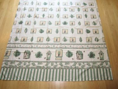 Ivory & Sage Green Print Fabric Shower Curtain: Birdhouses Herbs Bees+