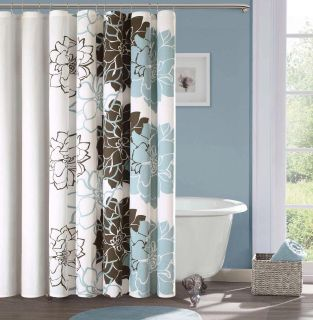 Off white, brown & teal floral shower curtain.