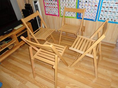 Indoor-Outdoor 4 Wood Chairs,Like New