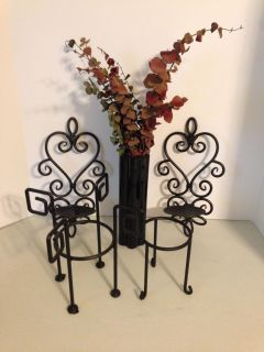 Black home decor - Tall case, 2 wrought iron wall hangings. 2 candle holders
