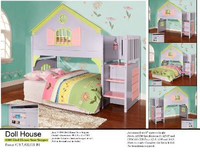 D300 Doll House Twin Loft Bed With Stairs
