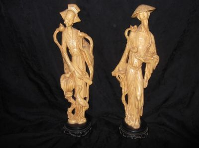 "a vintage, stunningly detailed set of chinese male & female, statues 18-19"" tall"