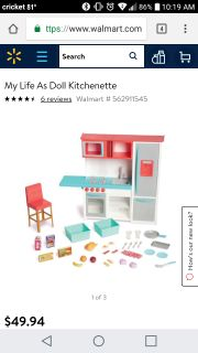 My life Doll kitchen set for 18 in dolls