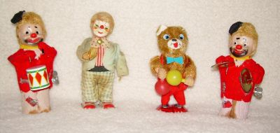 Yonezawa Hobo Clown Musical Band Antique Wind Up Toys