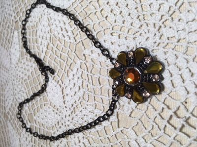 Pendant on Black Chain Round Three Colors and Shapes of Stones Champagne Citrine Topaz Adjustable