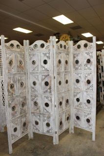 4 Panel Hand Carved Antique Wooden White Room Divider