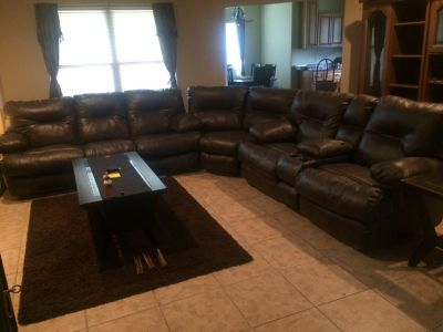 3 Piece Brown Faux couch set