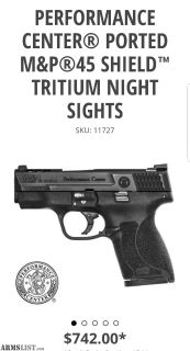 For Sale/Trade: -NIB- Performance Center Shield .45 w/ Factory Night Sights