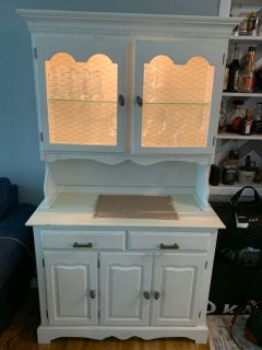 Painted white light up hutch