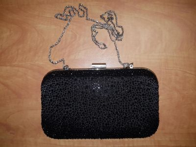 """Small vintage chrome and black beads Clutch bag 8"""" by 4.5"""""""
