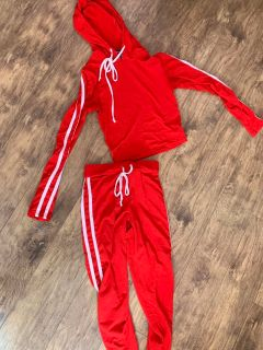 Red track suit
