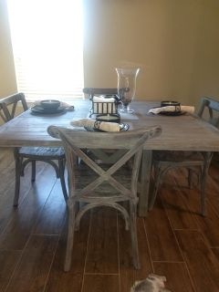 Gray rustic Dining table with 4 matching chairs