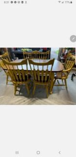 DINING SET WITH LEAF AND 6 CHAIRS