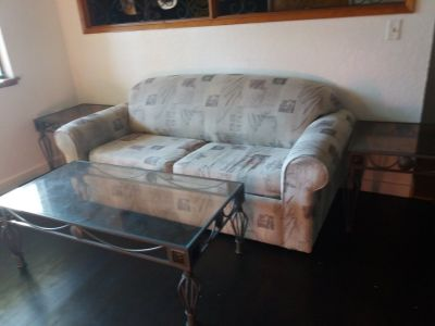 Sleeper sofa and end tables