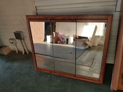 Oak framed triple mirror door medicine cabinet