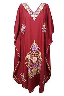 Women Kimono Kaftan Maroon Embellished Boho Long Maxi Dresses One Size