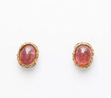 Cabochon well matched Rubies gold and sterling