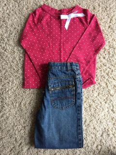 Girls Top/Denim Jeans-Size 4/4T