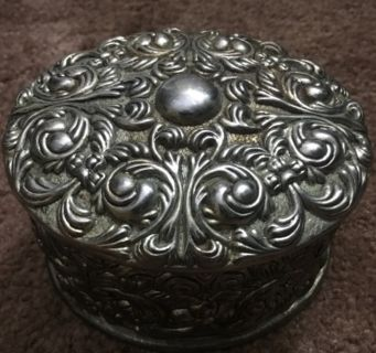 Vintage silver plated blue velvet lined jewelry box