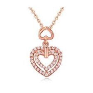 ***BRAND NEW***WHITE ZIRCON Double Heart Necklace***SILVER