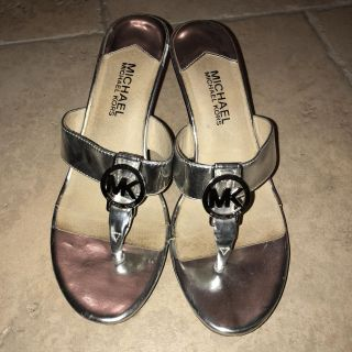 Michael Kors silver wedges- size 7